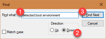 "Enter ""detected boot environment"" and click Find Next"