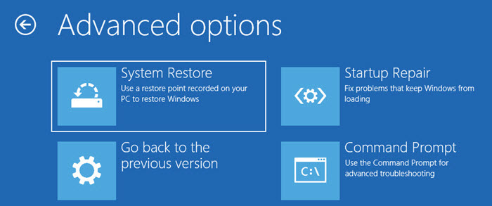 Select System Restore in Advanced Options