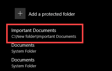 Folder added to the ransomware protection