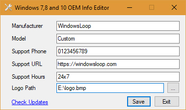 Change OEM Information In Windows