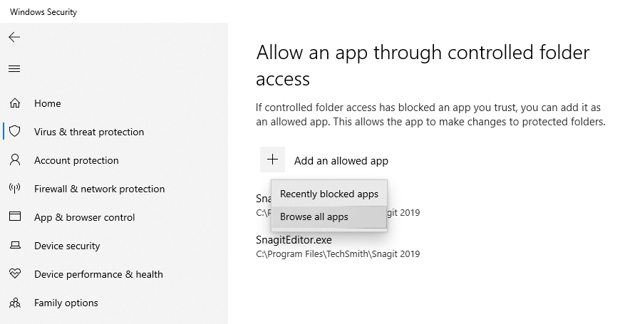 Windows 10 ransomware protection - select browse all apps