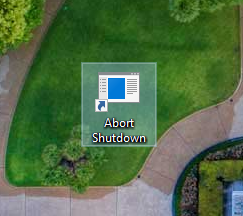 Cancel shutdown - shortcut created