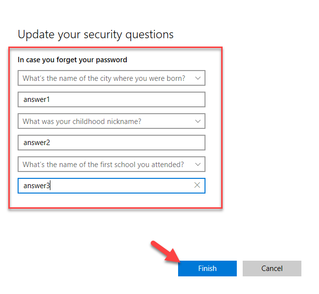Change security questions - new security questions