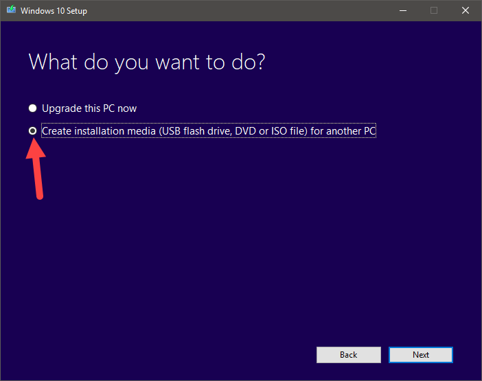 Download windows 10 iso - select create installation media