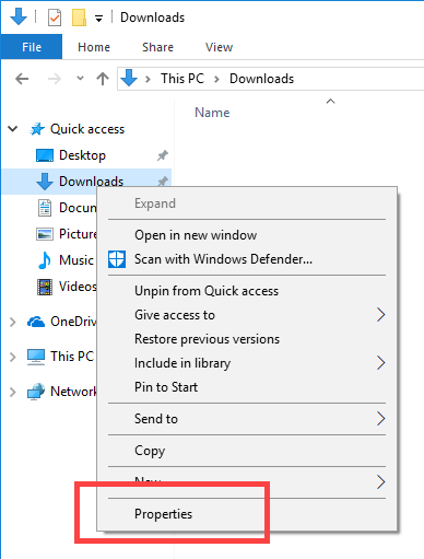 Right-click on the Download folder under Quick Access and select Properties