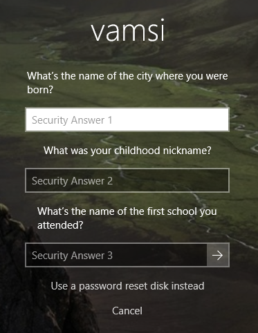 Reset local user account password windows 10 - answer security questions