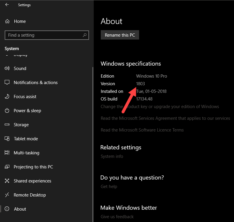 Windows 10 version number - version number in settings app