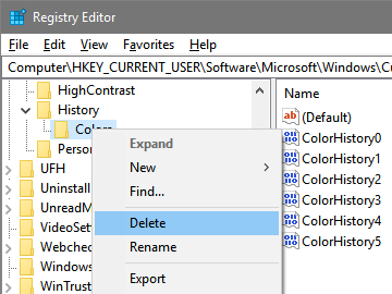 Clear recent colors history - select delete option
