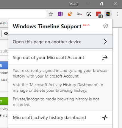 Win10 timeline - chrome sign in complete