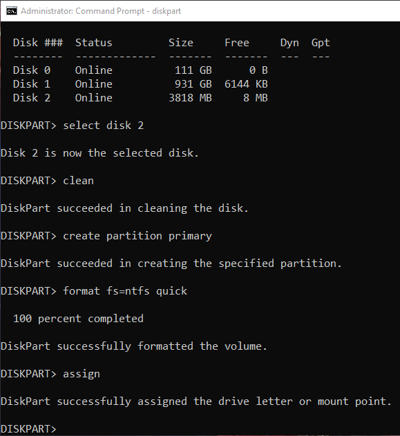 Format usb drive cmd assign drive letter