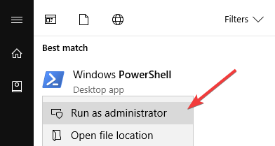 Open powershell as admin