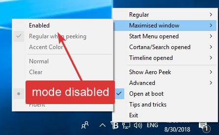 Transparent taskbar enabled option unchecked