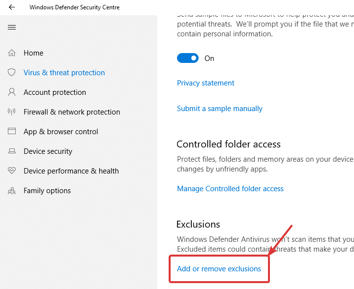 Windows defender click add or remove exclusions
