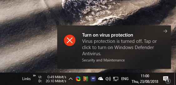 Windows defender real time protection