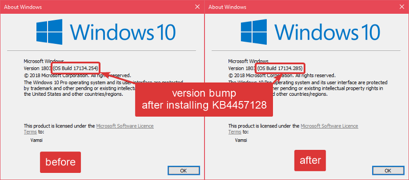 Windows version after installing kb4457128 update