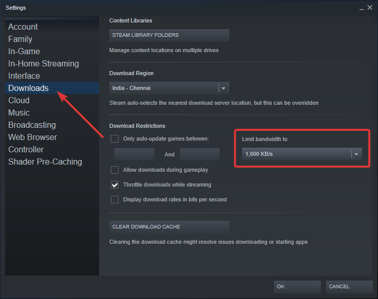 Steam select bandwidth limit