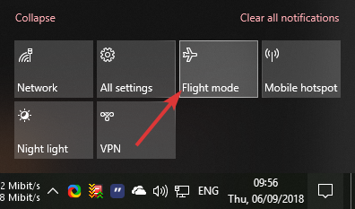 Toggle flight mode