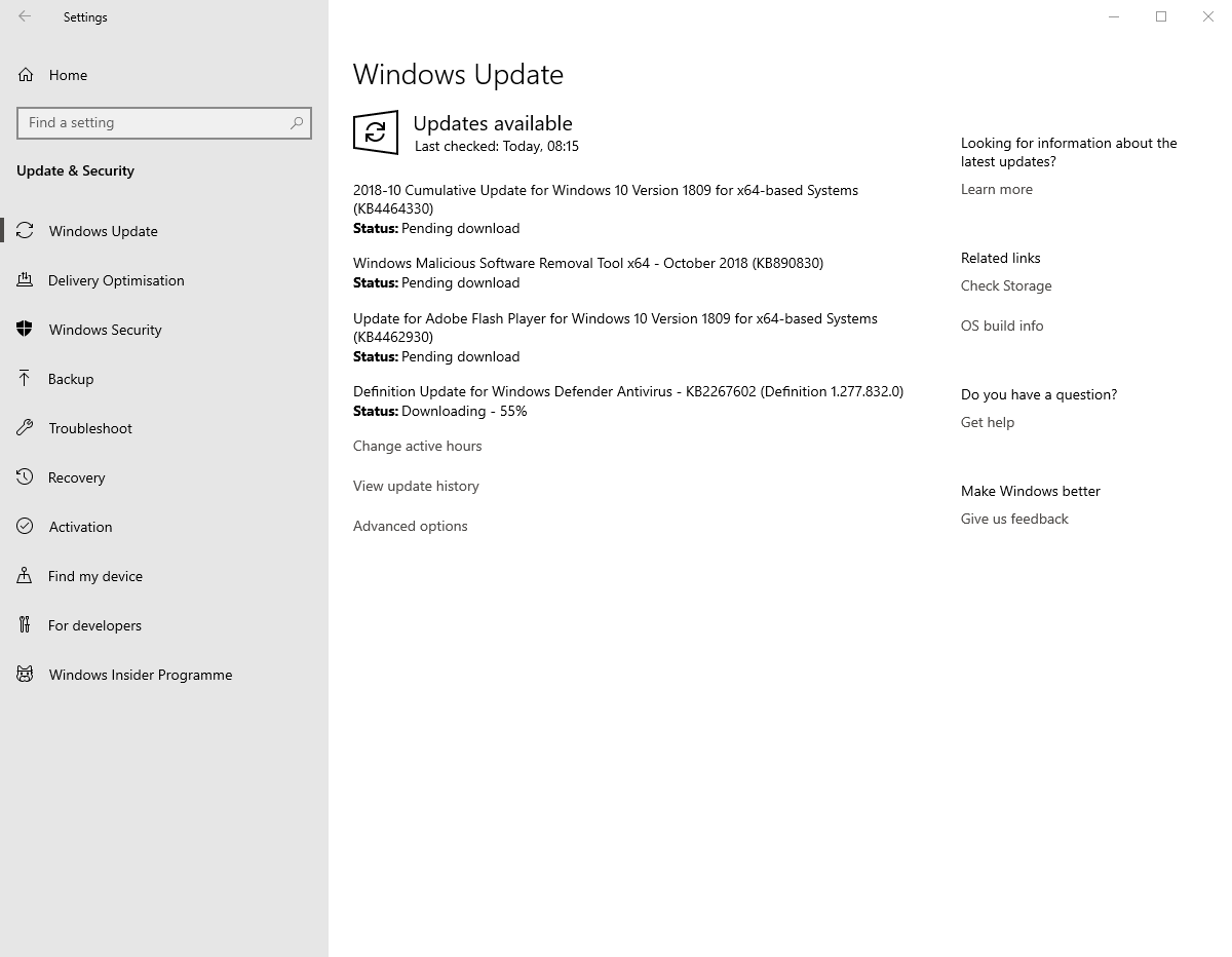 Kb4464330 update from settings app