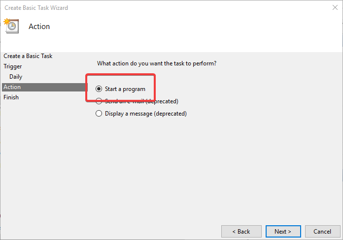 Task scheduler select start a program
