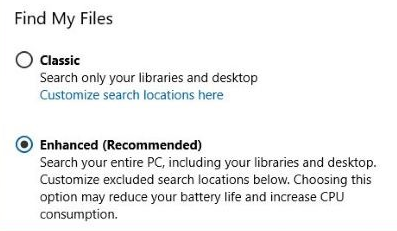 Turn on or off enhanced mode for search indexer windows 10