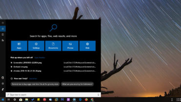 Windows 10 cortana start menu search