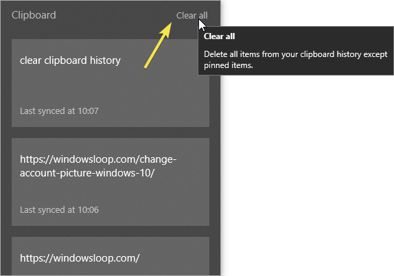 Clear all clipboard items in windows 10