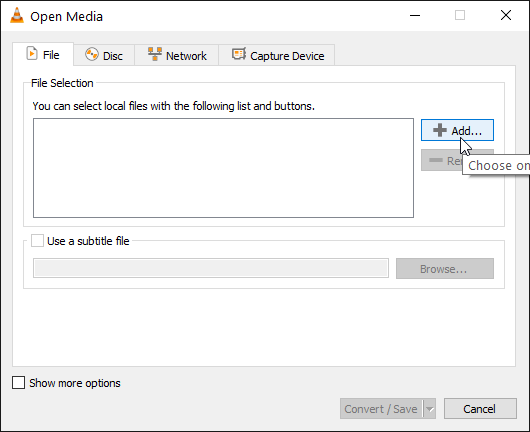 Convert m4b to mp3 click add button in vlc open media window