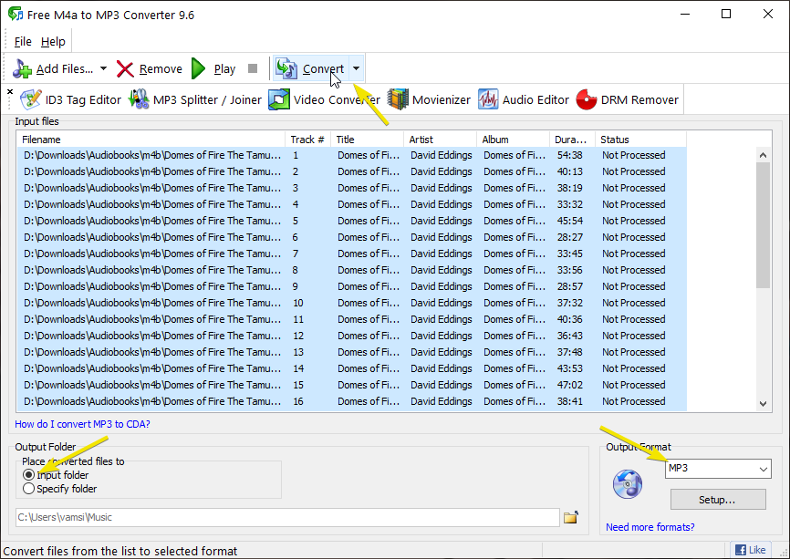 Convert m4b to mp3 - select audio format and destination in the software window