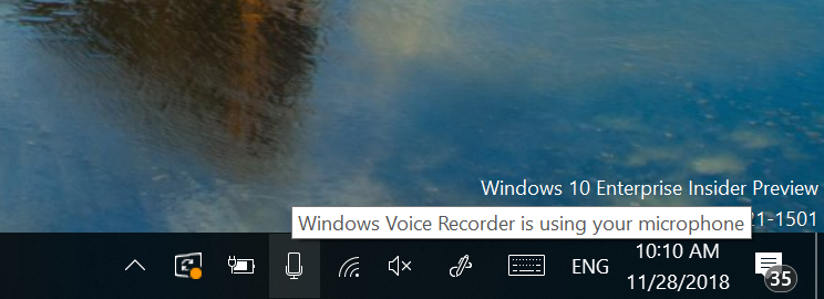Build 18290 can now show which app is using your microphone