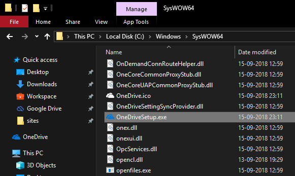 Onedrive setup file in file explorer