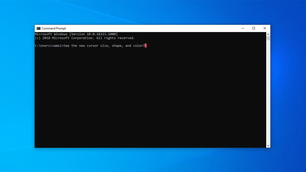 Command prompt color shape and size customization