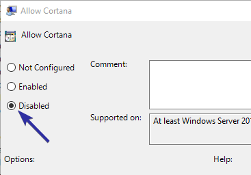 Disable cortana from group policy editor