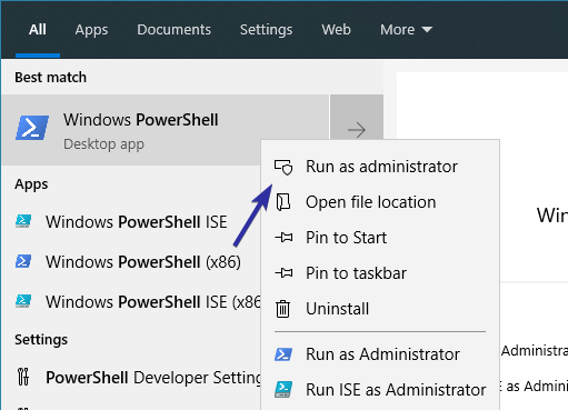 Powershell start menu search item