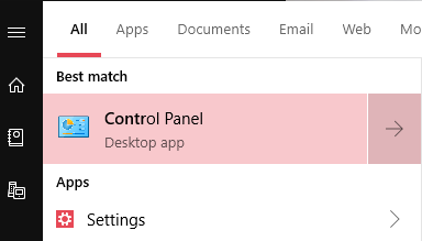Start menu control panel search item