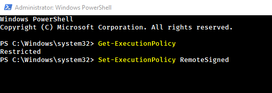 Command to change execution policy from restricted to remotesigned