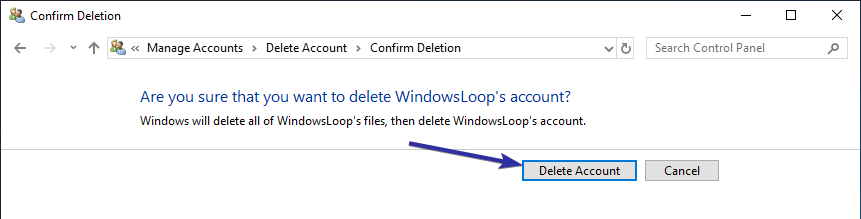 Delete user account windows 10 10