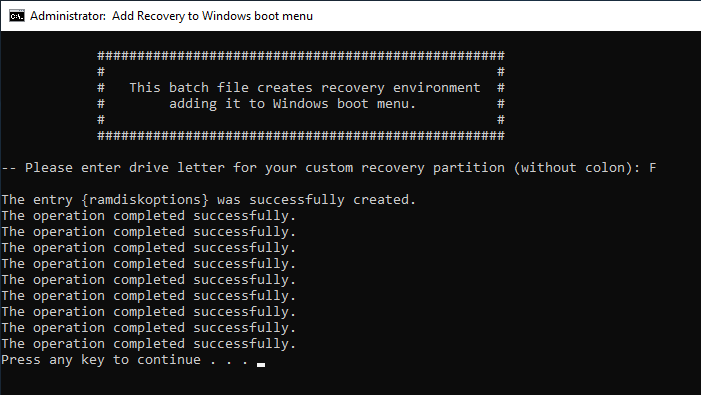 Windows 10 create recovery partition 19