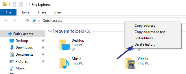 Clear file explorer address bar history 02