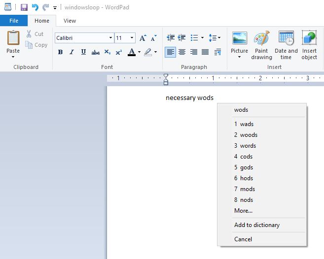 Wordpad spell check 05