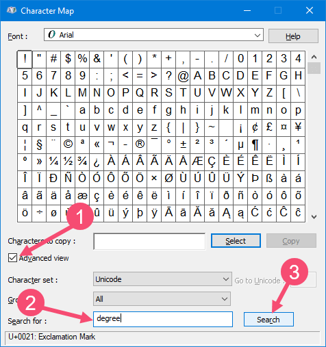 Degree symbol in word 05