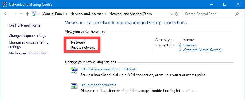 Windows 10 network discovery - check if network is private