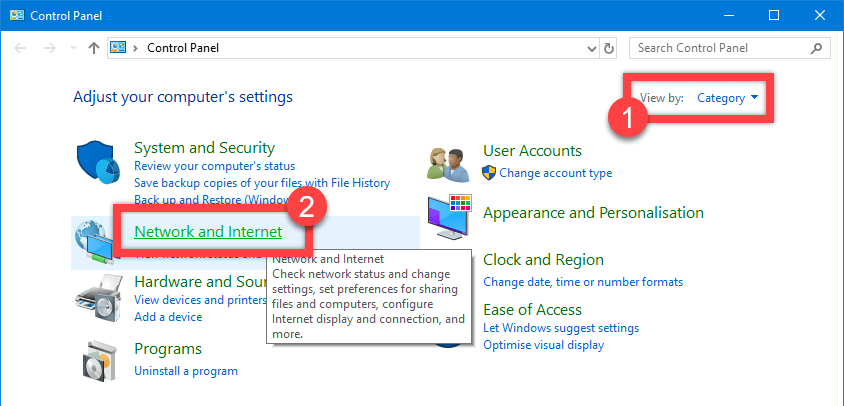 Windows 10 network discovery - click networ connections link