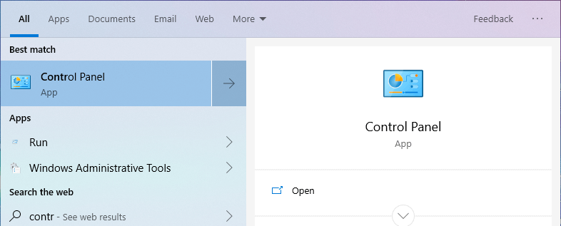 Windows 10 network discovery - open control panel