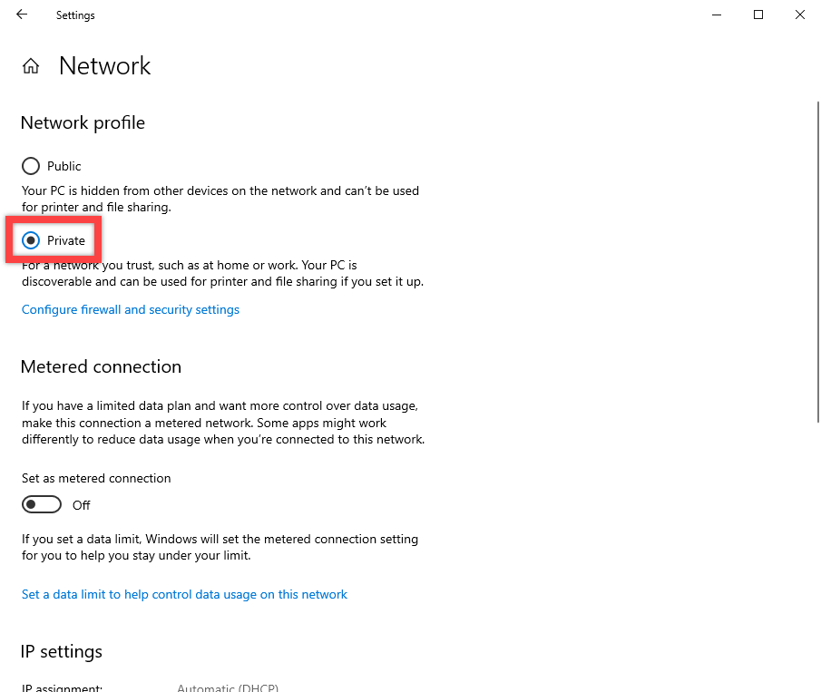 Windows 10 network discovery - set network to private