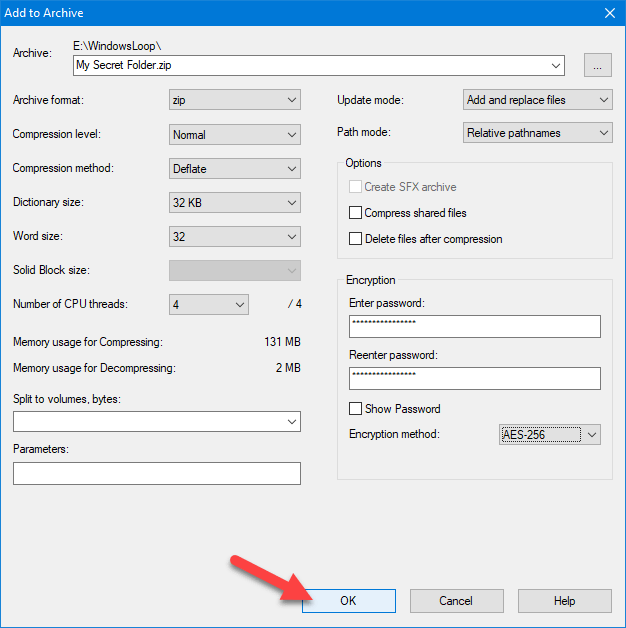 Password protect zip file - confirm changes