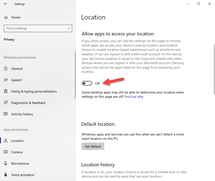 Win10 location tracking - 03 - turn off app location tracking