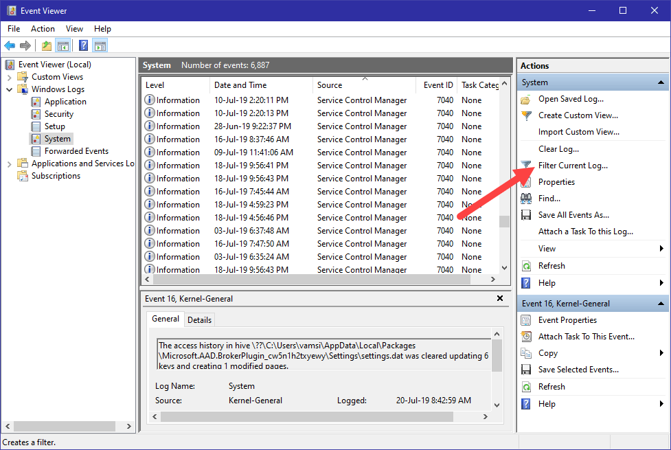 Win10 see computer startup and shutdown history - select filter