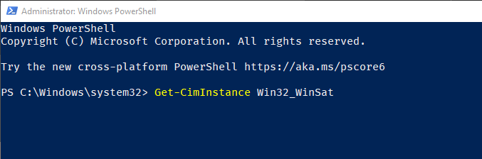 Windows 10 windows experience index score - run wei powershell command