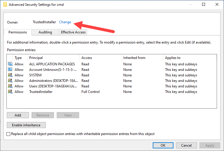 Add open command prompt here option win 10 - click change link