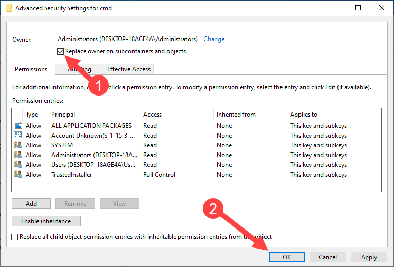 Add open command prompt here option win 10 - confirm owner
